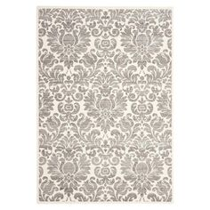 Featuring a damask motif in grey and ivory, this artfully loomed rug adds an eye-catching touch to your home library or living room decor. Living Room Carpet, My Living Room, Living Room Decor, Area Rugs Cheap, Cheap Rugs, Living Room Seating, Dining Room, Sofa, Colorful Rugs