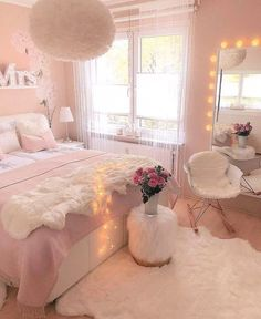 Pink Bedroom Design, White Bedroom Decor, Teen Bedroom Designs, Bedroom Decor For Teen Girls, Cute Bedroom Ideas, Room Ideas Bedroom, Home Decor Bedroom, Diy Bedroom, Master Bedroom