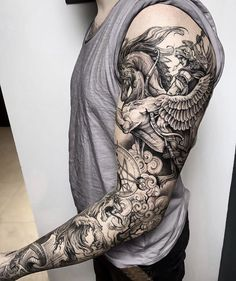 Arm Sleeve Tattoos, Full Sleeve Tattoos, Leg Tattoos, Body Art Tattoos, Cool Tattoos, Tattoo Ink, Future Tattoos, Tattoos For Guys, Greek Mythology Tattoos