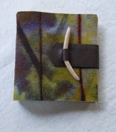 Handmade and Resist Dyed Felt & Leather Blank Journal with Twig Closure