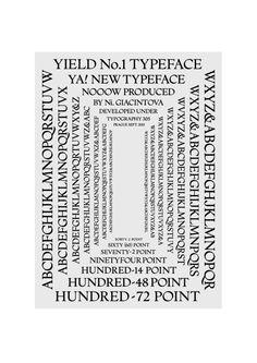 Yield type specimen w/ N.Giacintova Yield typeface by N. Giacintova