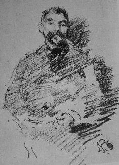 1893b-James Whistler, Portrait de Stéphane Mallarmé. Lithographie Pierre Auguste Renoir, Claude Monet, James Abbott Mcneill Whistler, Honore Daumier, Portraits, Gravure, Impressionism, Art, Authors