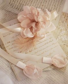 Handwritten letters with ribbon, rose Vibeke Design, Old Letters, Peach Blush, Jolie Photo, Vintage Love, Vintage Romance, Lovely Dresses, Pink Aesthetic, Pastel Pink