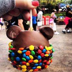 Chocolate covered Apple, with marshmallows for the ears, Garnished at the bottom in m&ms