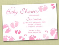 Personalised Baby Feet Baby Shower Invitations  by deezeedesign, $15.00