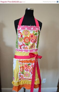 40% Off Sale Full Women's Apron with Ruffle and Pockets, Pink, Green, and Yellow, Ready to Ship