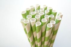 "Pretty Green Paper Straws with Green and white stripes  - great for green themed wedding, birthdays and anytime you need to add some green colors and stripe pattern to your party or get together!Pack of 25 green paper straws - striped7 3/4"" long Food safe & FDA Approved Earth Friendly & Bio-degradable Thickest Strongest Most Durable Made in USA** Please note that paper straw colors can appear slightly different due to various factors: ligh..."
