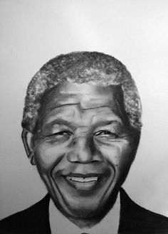 Nelson Mandela portrait charcoal on paper by Gennaro Santaniello