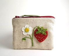 strawberry and blossom zipper bag