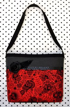 Floral Calaveras Purse with Black Rose & Feathers - Day of the Dead Purse - SOLD