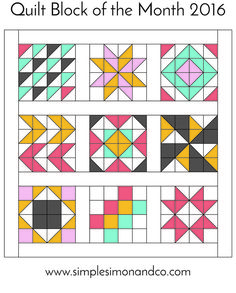 Quilt Block of the Month:The Ribbon Star Quilt Block Tutorial - Simple Simon and Company Block of our Quilt Block of the Month series. Visit our website for the tutorial and series. Barn Quilt Designs, Barn Quilt Patterns, Quilting Patterns, Free Quilt Block Patterns, Pattern Blocks, Half Square Triangle Quilts Pattern, Square Quilt, Arrow Quilt, Motifs Aztèques