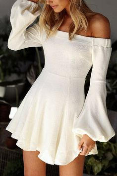 White Off The Shoulder Long Lantern Sleeves Mini Dress