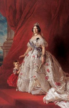 Portrait of Isabel II of Spain (detail), by Franz Xaver Winterhalter (German, Franz Xaver Winterhalter, Victorian Art, Victorian Fashion, Reine Victoria, Queen Victoria, Spanish Royalty, Isabel Ii, Women In History, Woman Painting