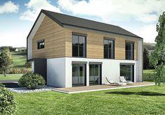 Einfamilienhaus neubau modern holz  Außenansicht beleuchtet mit Carport und Garten des EFH ...