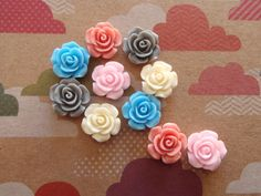10 Mixed Colours Rose Style Flower Resin Cabochon Embellishments 14x6mm on Etsy, $2.00 AUD
