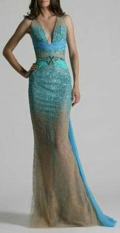 Zuhair Murad cruise 2011 | water color | aqua | low v neck | evening gown