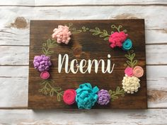 Personalized name sign for girl Felt Flower Sign Floral Wood Banner Hand Painted Sign Nursery Birthday gift Baby Shower Mother day Girl room by designbyGeja on Etsy