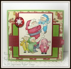 Christmas card made with Christmas tots with Santa stamp from Art Impressions.