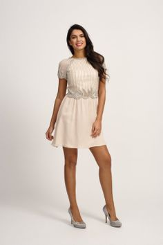 Little Mistress Cream Heavily Embellished Vintage Style Cap Sleeve Dress