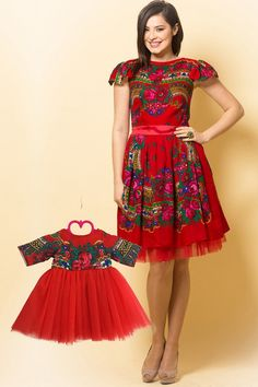 Set Rochii Mama-Fiica Etno Rosu - Etno Red Dress, Traditional Look for Mother- Daughter Dress, Romanian Dress,