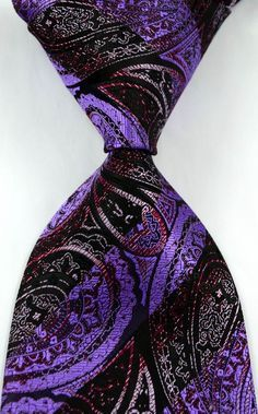 New Classic Paisley Striped Black Purple JACQUARD WOVEN Silk Men's Tie Necktie in Clothing, Shoes & Accessories | eBay