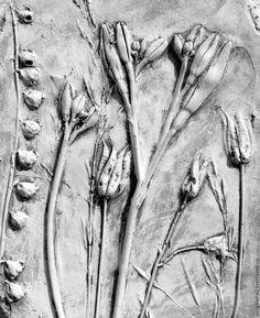 Купить Гипсовое панно Июль - серый, гипс, гипсовые отливки, оттиски растений, картина в подарок