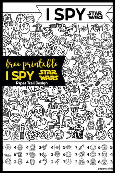 Free Printable Star Wars I Spy {Party Game} Paper Trail Design - Star Wars Girls Ideas of Star Wars Girls - Free Printable Star Wars I Spy Game. Perfect for a Star Wars birthday party for kids of all ages. Easy activity to print and have ready. Learning Activities, Craft Activities For Kids, Printable Star Wars, I Spy Games, Spy Games For Kids, Anniversaire Star Wars, Spy Party, 21st Party, Game Party
