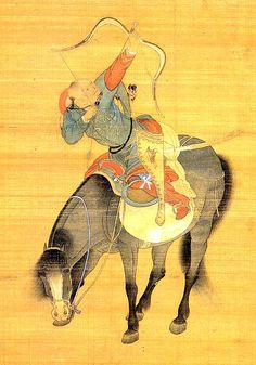 Khubilai Khan's Mongol Bodyguard (Mongol Warrior, Late 12th Century CE Yuan (?) Miniature Painting, China (?))