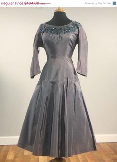 SWEETHEARTSALE Vintage Late 1940s NIGHT DIVINE Smoke Gray Full Skirt Cocktail Dress Evening Dress Plus Size Dress Glass Beaded Collar As Is. $83.20, via Etsy.