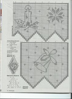 Zazdrostki do okien - Urszula Niziołek - Picasa Albums Web Filet Crochet Charts, Crochet Doily Patterns, Crochet Borders, Crochet Diagram, Crochet Doilies, Crochet Winter, Holiday Crochet, Crochet Leaves, Thread Crochet