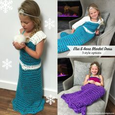 FELT ELSA &ANNA  DRESS BLANKET---Princess Elsa & Anna Inspired Blanket Dress