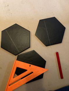 How to lay big hexagon tile!: Week 3 of the One Room Challenge / Create / Enjoy Large Hexagon Floor Tile, Tile Floor Diy, Hexagon Tiles, Hex Tile, Tile Saw, Wall Tiles, Tile Leveling System, Hallway Flooring, Easy Animals