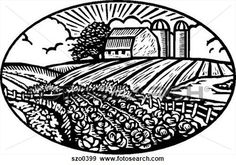 Agriculture Clipart Black And White Farms, Farm art...