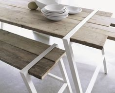wood table wth white metal structure