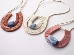 Image of Woven Rope Necklace with Porcelain #1