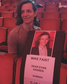 """They missed a chance to put """"Mike Faist and the Furious"""" on his seat - - - - - Mike going full derp Theatre Nerds, Musical Theatre, Will Roland, Good People, Amazing People, Pretty People, Dear Even Hansen, Connor Murphy, Ben Platt"""