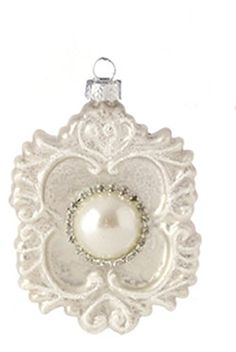 Pastel Dreams Antique White Large Pearl Bead and Rhinestone Glass Medallion Christmas Ornament