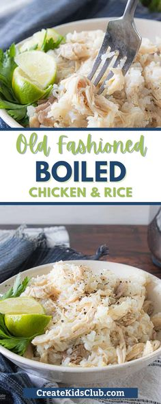 Boiled Chicken and rice is a super simple flavor-packed dinner that kids love. A whole chicken is boiled in water, shredded, then cooked with rice and seasonings. An old southern boiled chicken and rice recipe that makes plenty for leftovers or freeze for later. Visit the blog to get the full recipe and instructions. Gluten Free Chicken, Easy Chicken Recipes, Rice Recipes, Lunch Recipes, Dinner Recipes, Good Healthy Recipes, Healthy Snacks, Boiled Chicken And Rice, Convenience Food