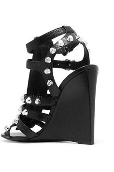 Balenciaga - Studded Textured-leather Wedge Sandals - Black - IT38