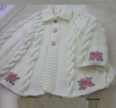 "Vest,Sweaters-RJ Margriet Huisman [ "" Lovely embroidery on a completed sweater"" ] Baby Vest, Baby Sweaters, Sweaters Knitted, K Baby Knitting Patterns, Knitting Designs, Baby Patterns, Baby Cardigan, Knit Or Crochet, Crochet For Kids, Knitting For Kids, Hand Knitting, Baby Girl Jackets"