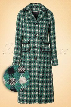 King Louie Peggy Long Green Check Coat 151 49 15598 20150827 0004W1