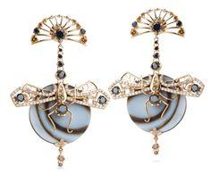 Bochic dragonfly earrings with orange enamel and white diamonds set in 18-karat gold.