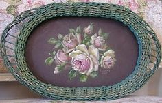 vintage wicker tray ~ C.Repasy       I thought it was the bottom of a laundry basket!  Pretty either way.