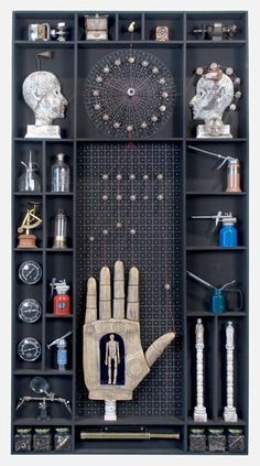 very organized cabinet Carlos Estevez, Cuba Art, Surreal Collage, Found Object Art, Poster Layout, Find Objects, Hand Art, Assemblage Art, Displaying Collections