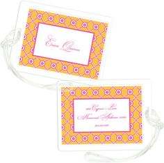 Orange Lattice Bloom Luggage Tags