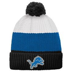 Detroit Lions Youth Vintage Ribbed Cuffed Knit Hat - White/Black