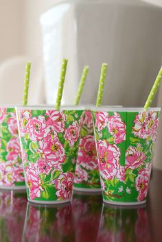 Lilly Pulitzer birthday party drinks! See more party planning ideas at CatchMyParty.com!