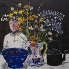 'Blue Colander, Gaudy Jug and Welsh Kettle' by Shani Rhys James MBE  RCA (oil on gesso)