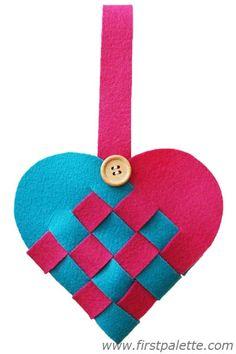 Woven felt heart basket