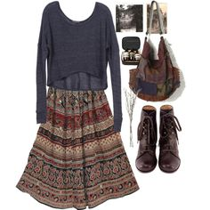 Gypsy traveller by snoorks on Polyvore featuring Brandy Melville, Chie Mihara, Free People, Aesop, Crate and Barrel, Fall, maxiskirt and boho